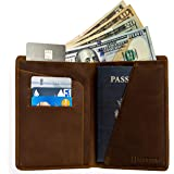 RFID Blocking Passport Holder Travel Wallet for Men and Women - Genuine Crazy Horse Leather (Dark Brown)