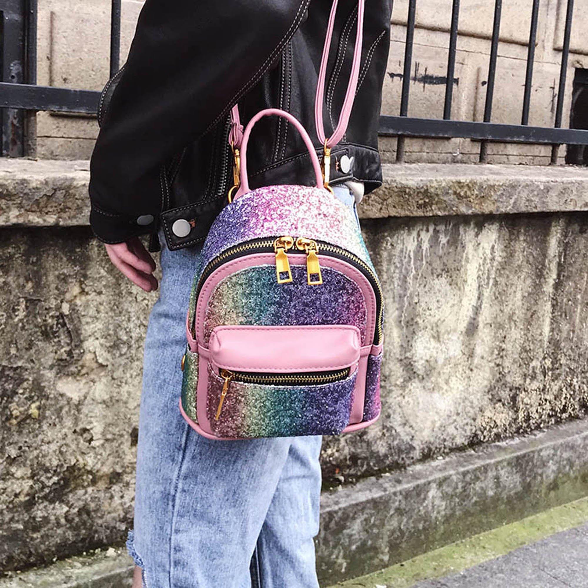 Girls Bling Mini Travel Backpack Kids Children School Bags Satchel Purses Daypack (pink rainbow) by JIANBAO (Image #5)