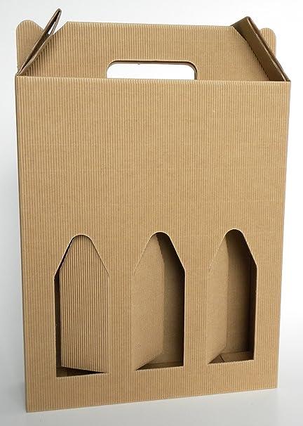Caja de cartón con asa para 3botellas de 750 ml (vino