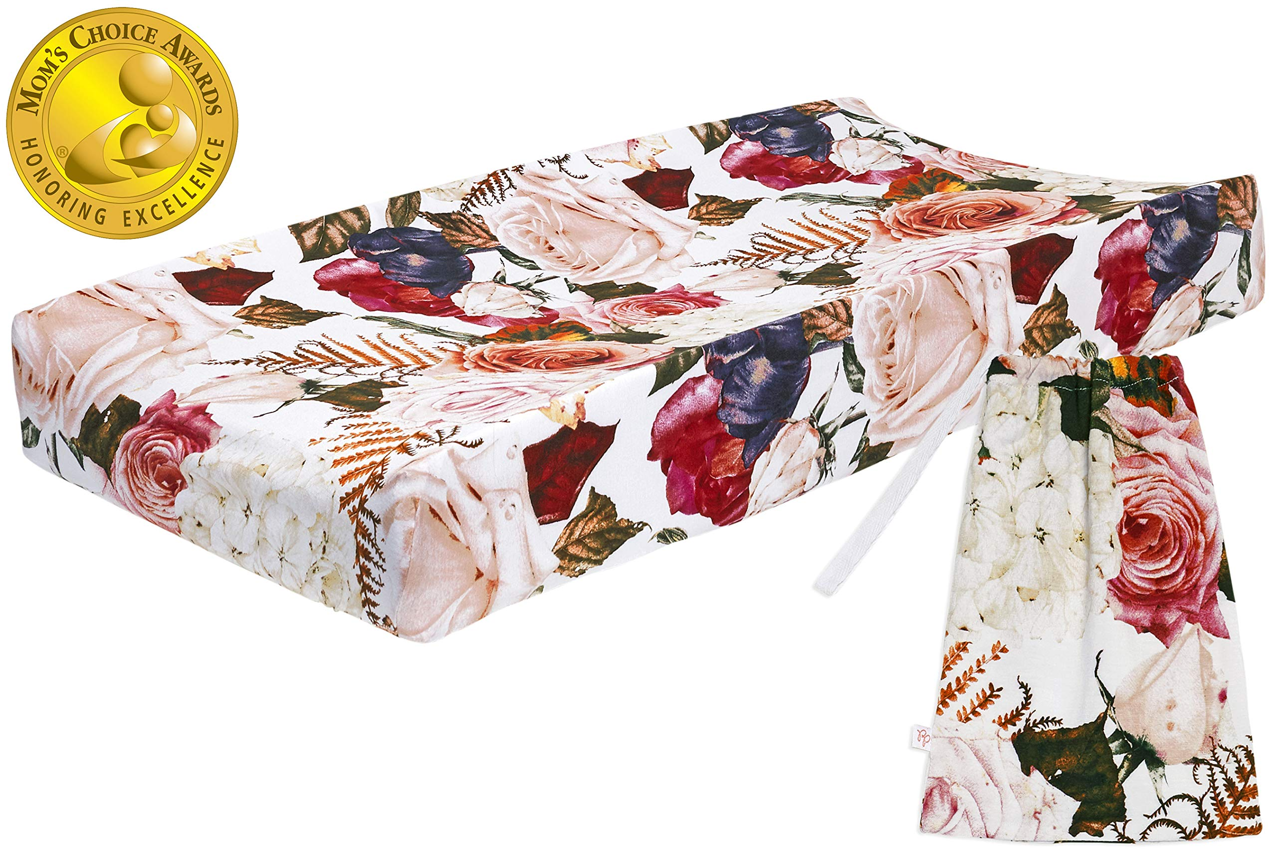 Posh Peanut Baby Changing Pad Cover Stretchy Bambo Viscose, for Standard 16'' by 32'' (Black Rose) by Posh Peanut