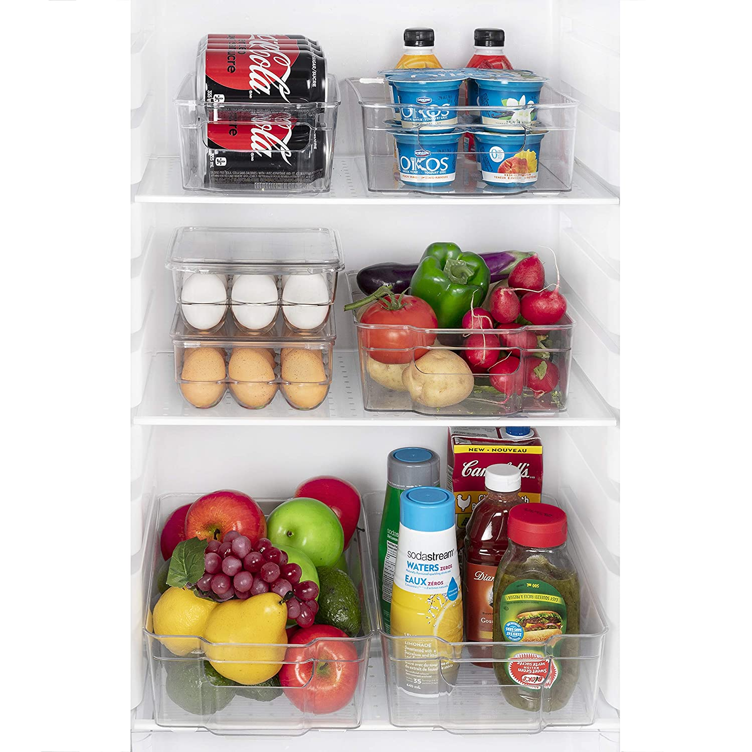 Jina Home Fridge Storage Bins - Set of 6 Kitchen Storage Bins | Stackable Refrigerator Organizers | BPA-Free Drawer Organizers for Fridge Bathroom and Pantry