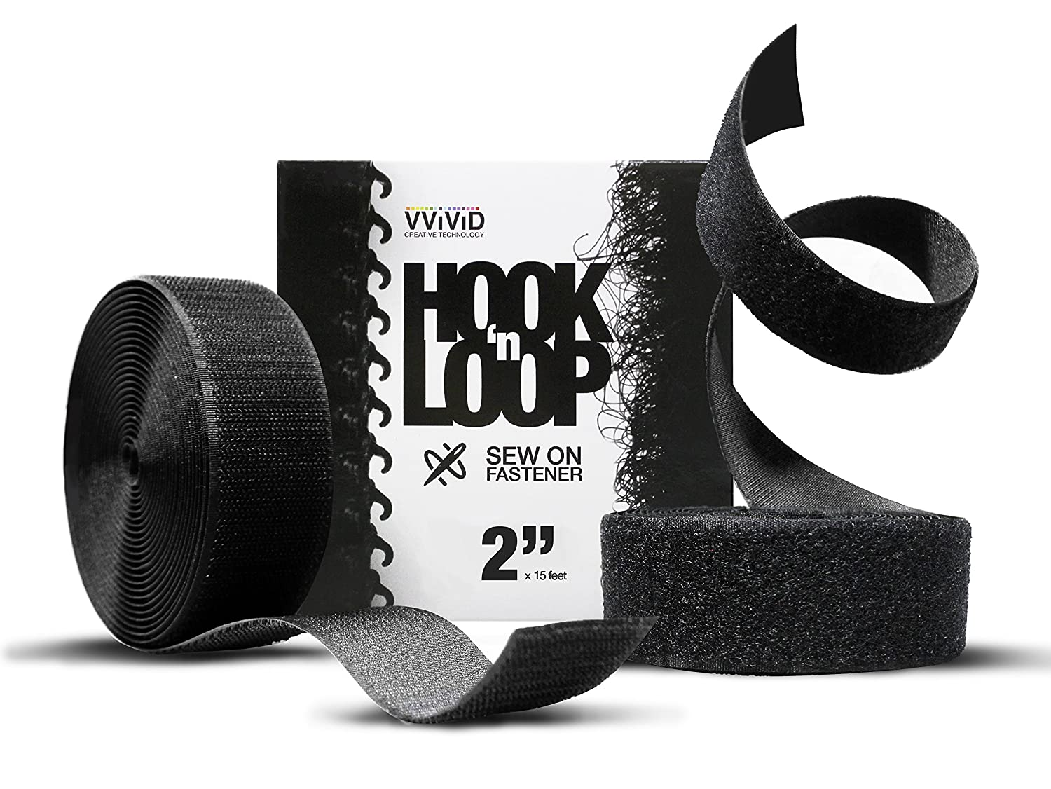 Hook n Loop Industrial Strength Black Sew-On Cloth Backed Roll 1.5 x 15ft White