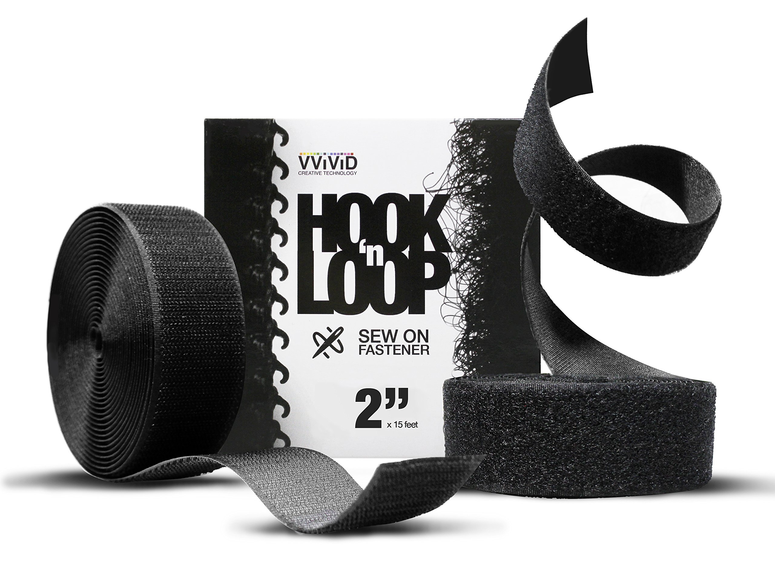 Hook 'n Loop Industrial Strength Black Sew-On Cloth Backed Roll (2'' x 15ft Black) by VViViD