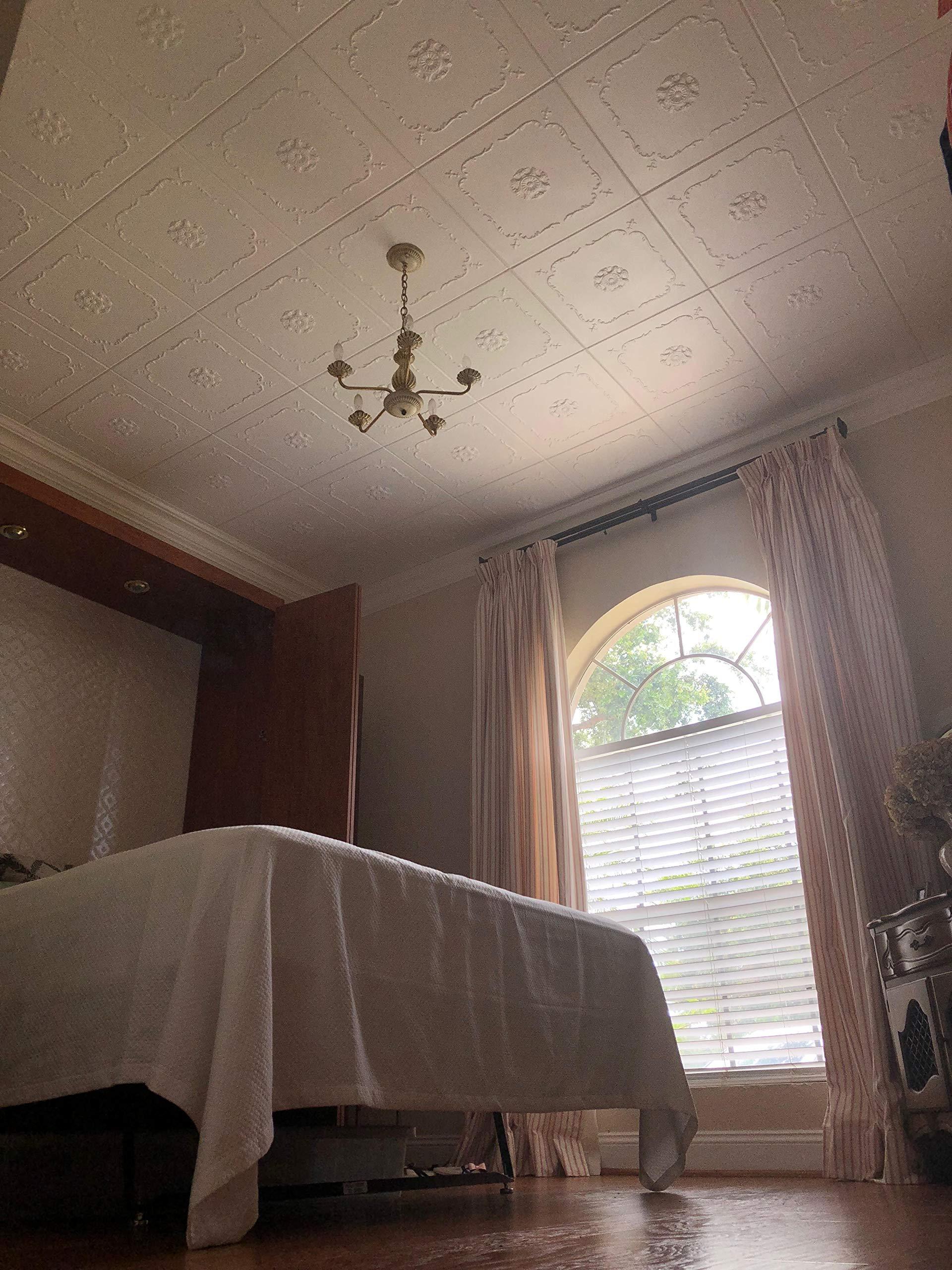 A la Maison Ceilings 818 Bourbon Street - Styrofoam Ceiling Tile (Package of 8 Tiles), Plain White