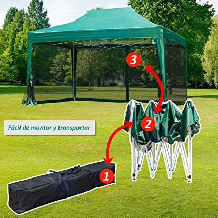 Outsunny Carpa 3x4.5m + Mosquitera Carpa Plegable en Acordeon ...