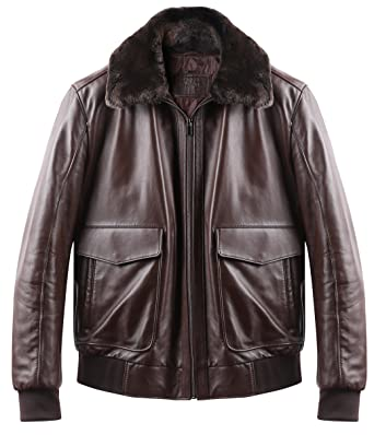 ee8abf29973 SAROS Brand Los Angeles - Bomber Genuine Leather Jacket - Real Sheepskin  Brown Flight Pilot Jacket