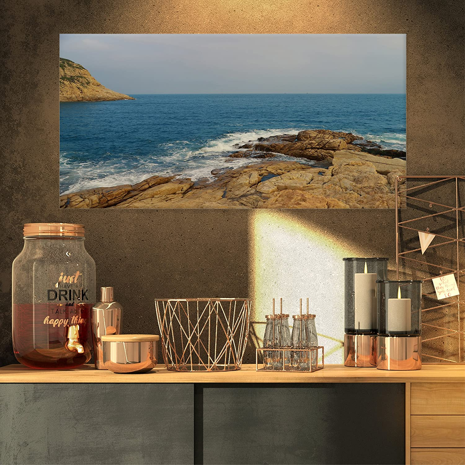 Blurred Waters In Hong Kong Beach Extra Large Seashore Canvas Art Amazon In Home Kitchen