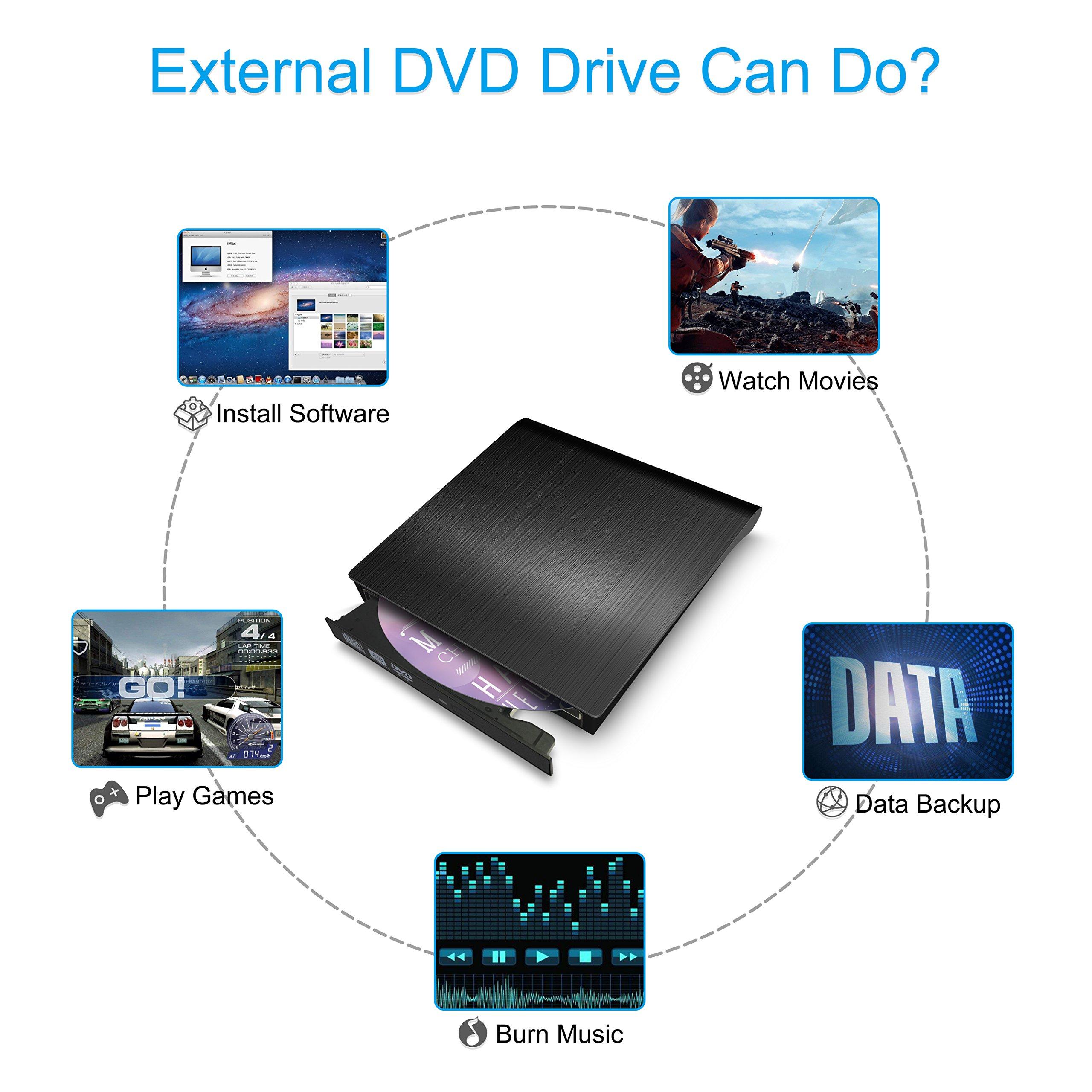 External CD DVD Drive,Valoin High Speed USB 3.0 Data Transfer Super Slim CD DVD-RW DVD ROM Drive for Laptop Desktop MacBook Win 7/8/10/Vista/Mac OS by Valoin (Image #5)
