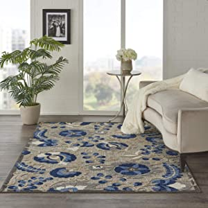 Nourison Aloha ALH05 Indoor/Outdoor Floral Natural/Blue Area Rug (6' x 9'), 6'X9',