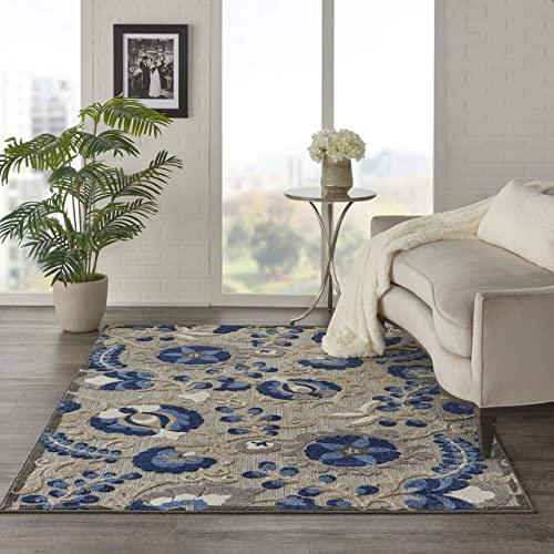 Nourison Aloha ALH05 Indoor Outdoor Floral Natural Blue Area Rug 6 x 9 , 6 X9 ,
