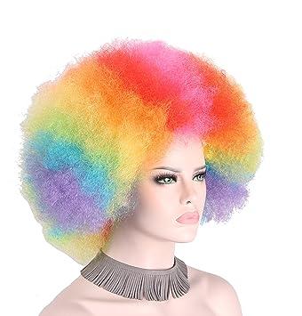 Peluca afro de payaso, sintética, colorida, unisex, de color arcoíris, para
