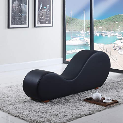Divano Roma Furniture Modern Bonded Leather Chaise Lounge Yoga Chair, Black