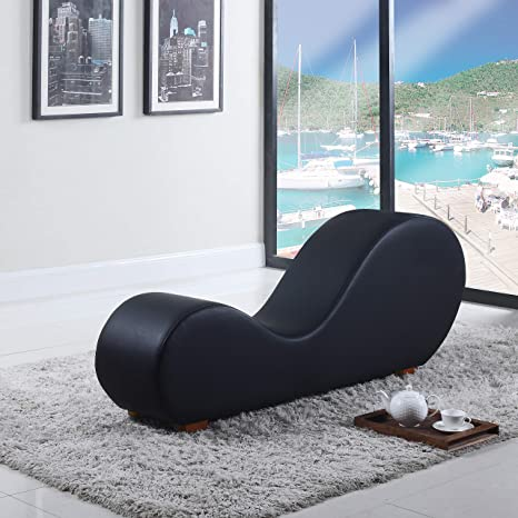 Modern Relax Bonded Leather Yoga Chair - Relaxation and Stretch Chaise Lounge (Black)