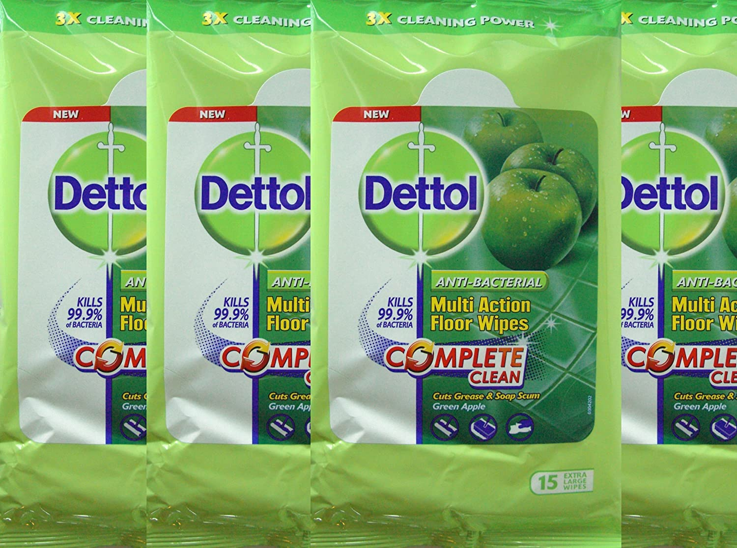 4 Packs Dettol Anti-Bacterial Multi-Action Floor Wipes (Each Pack Contains 15 Extra Large Wipes) Reckitt Benckiser