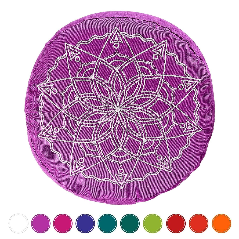 Yoga Zafu 瞑想 そば殻 象嵌 コットン ボルスター クッション - 色とデザインのミルチストローゼをお選びください B07G8CSH5S spelt|purplec purplec spelt