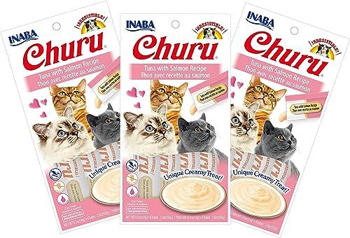 INABA Churu Tuna with Salmon Recipe Lickable Pur e Natural Cat Treats 12 Tubes
