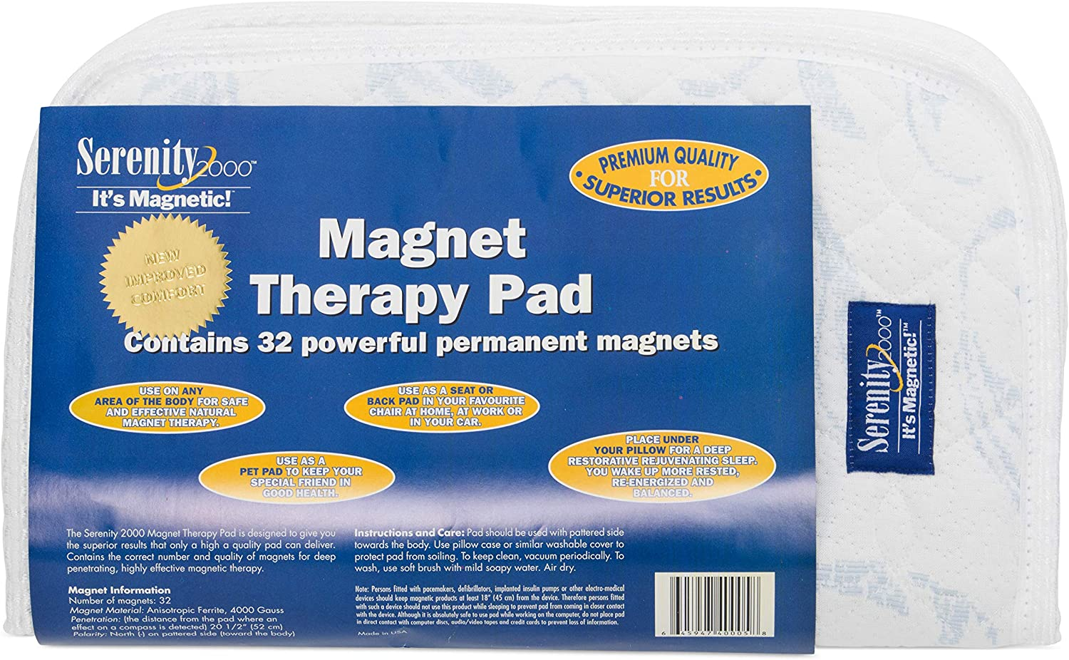 Serenity2000 Magnetic Vitality Pad for Improved Sleep and wellness