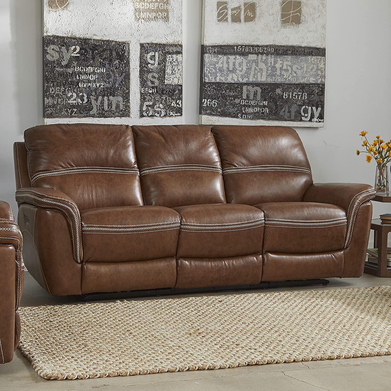Stitch & Time 5571 Mason Reclining Leather Sofa, Brown