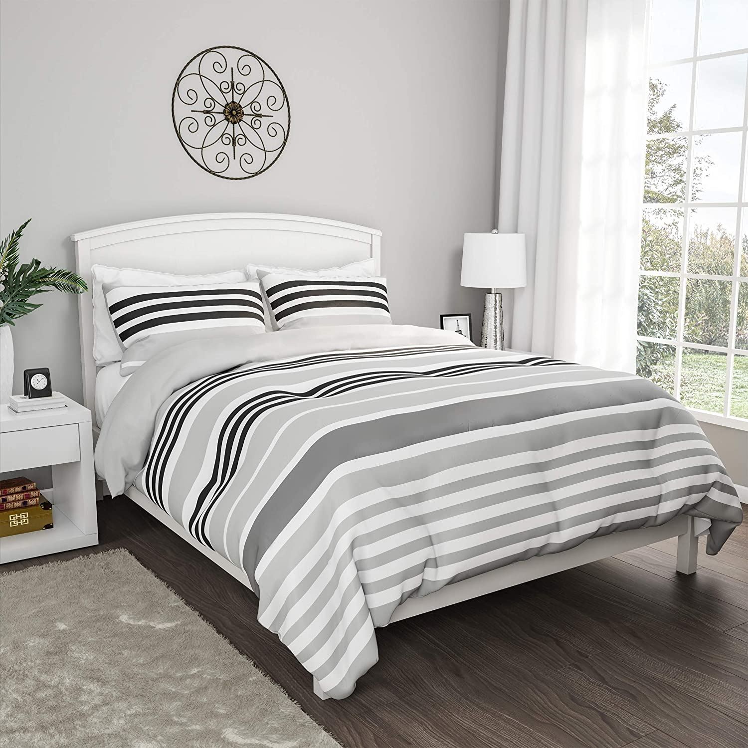 "Lavish Home Collection 3-Piece Comforter and Shams Set – ""Seaside Dawn"" Reversible, Hypoallergenic and Soft Microfiber Striped Down Alternative Bedding (King)"