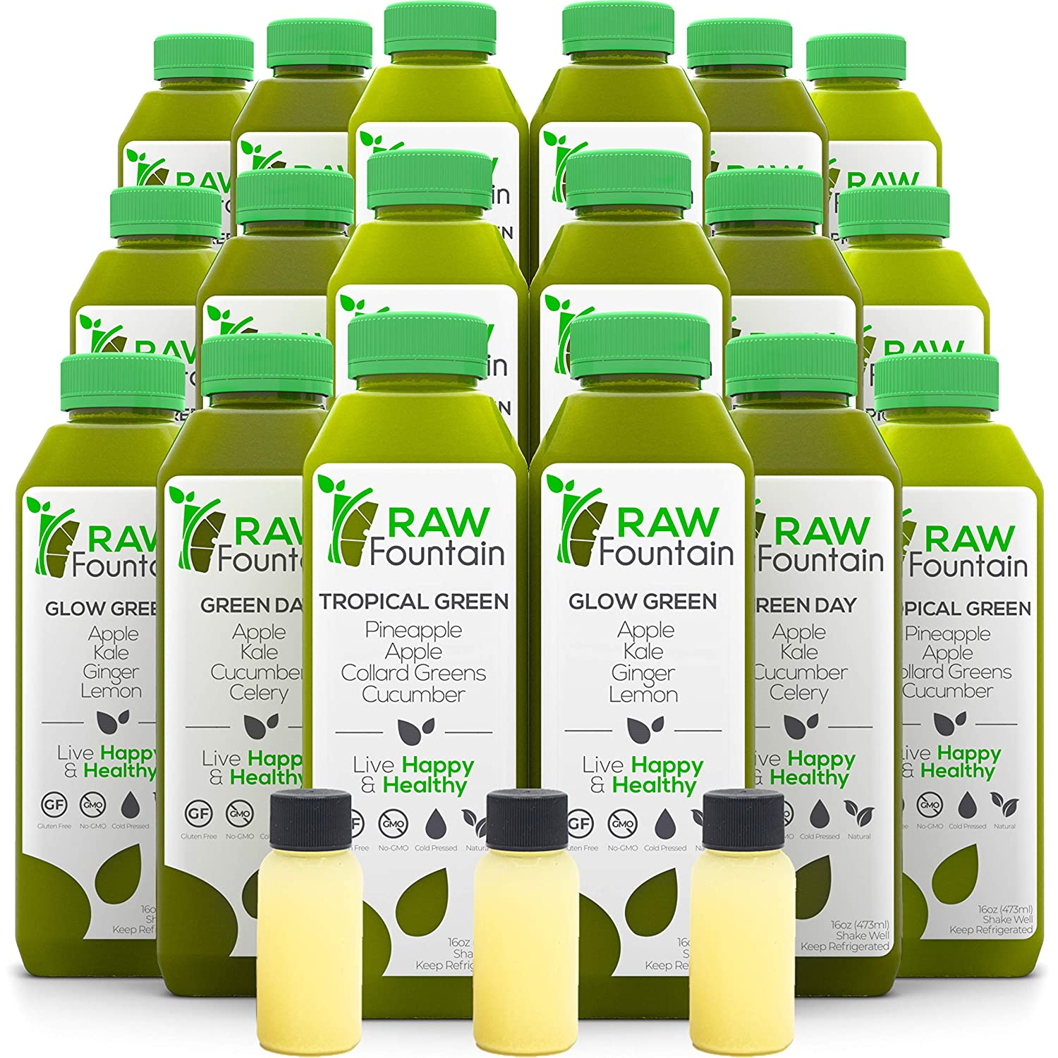 RAW Fountain 7 Day Green Juice Cleanse, 100% Raw Natural Vegan Detox, Cold Pressed Juices, 42 Bottles 16oz + 7 Ginger Shots