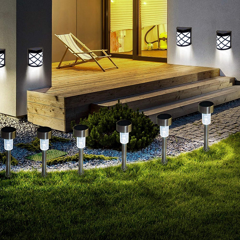 GIGALUMI Solar Garden Lights,16 Pack Solar Path Lights,8 Pack Solar Fence Lights,Solar Lights Outdoor Garden Led Light Landscape/Pathway Lights for Patio/Lawn/Yard/Driveway/Walkway
