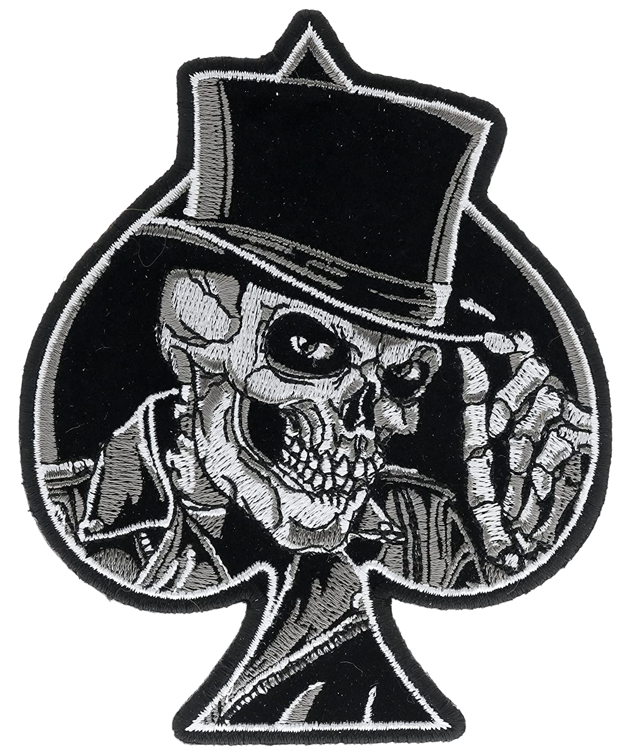 Ace spade top hat skull 4 x 5 inch iron on patch htl21037 amazon ca home kitchen