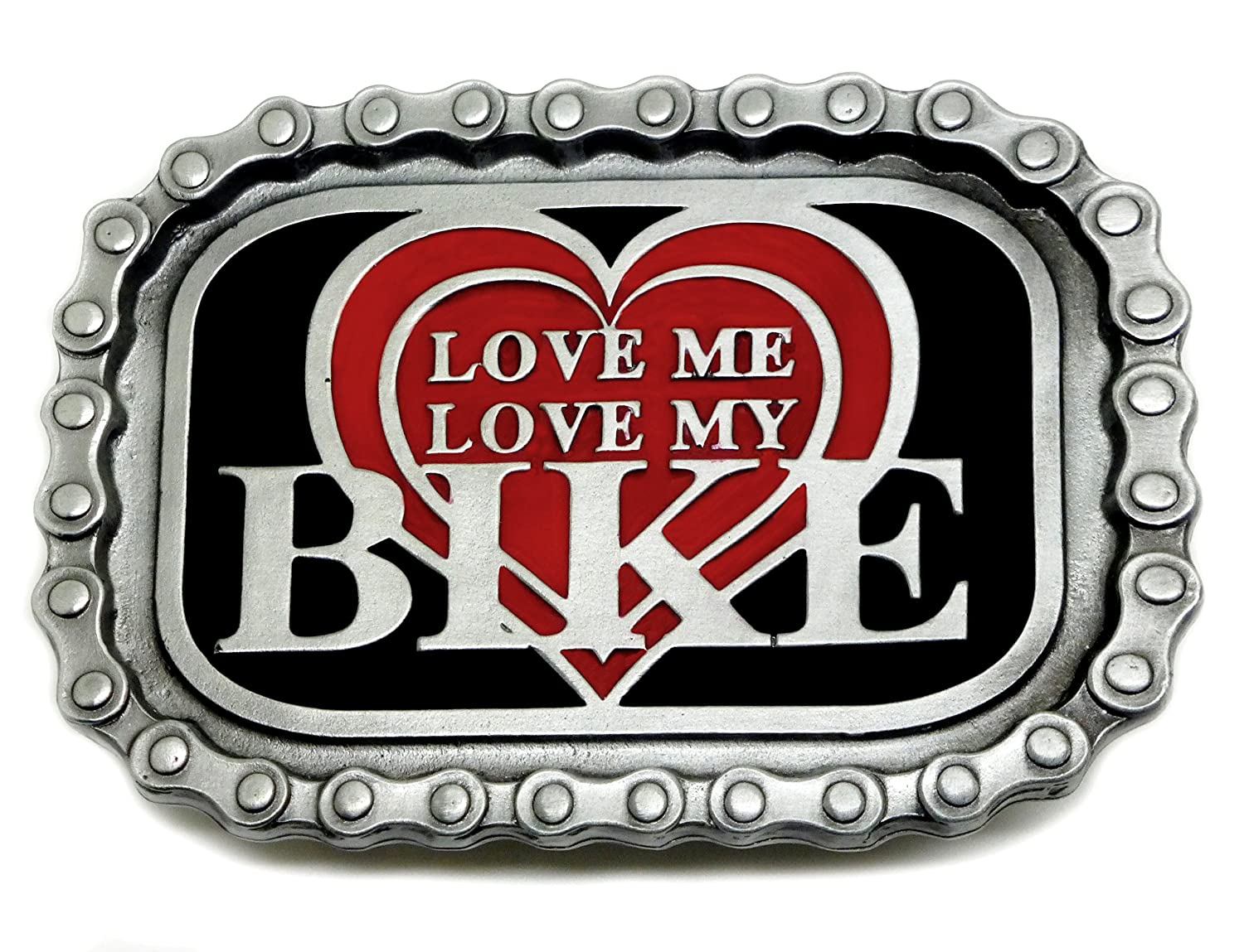 Biker Belt Buckle Love Me Love My Bike Heart & Chain Border Authentic Bulldog Buckle Co Branded Product TAN 412