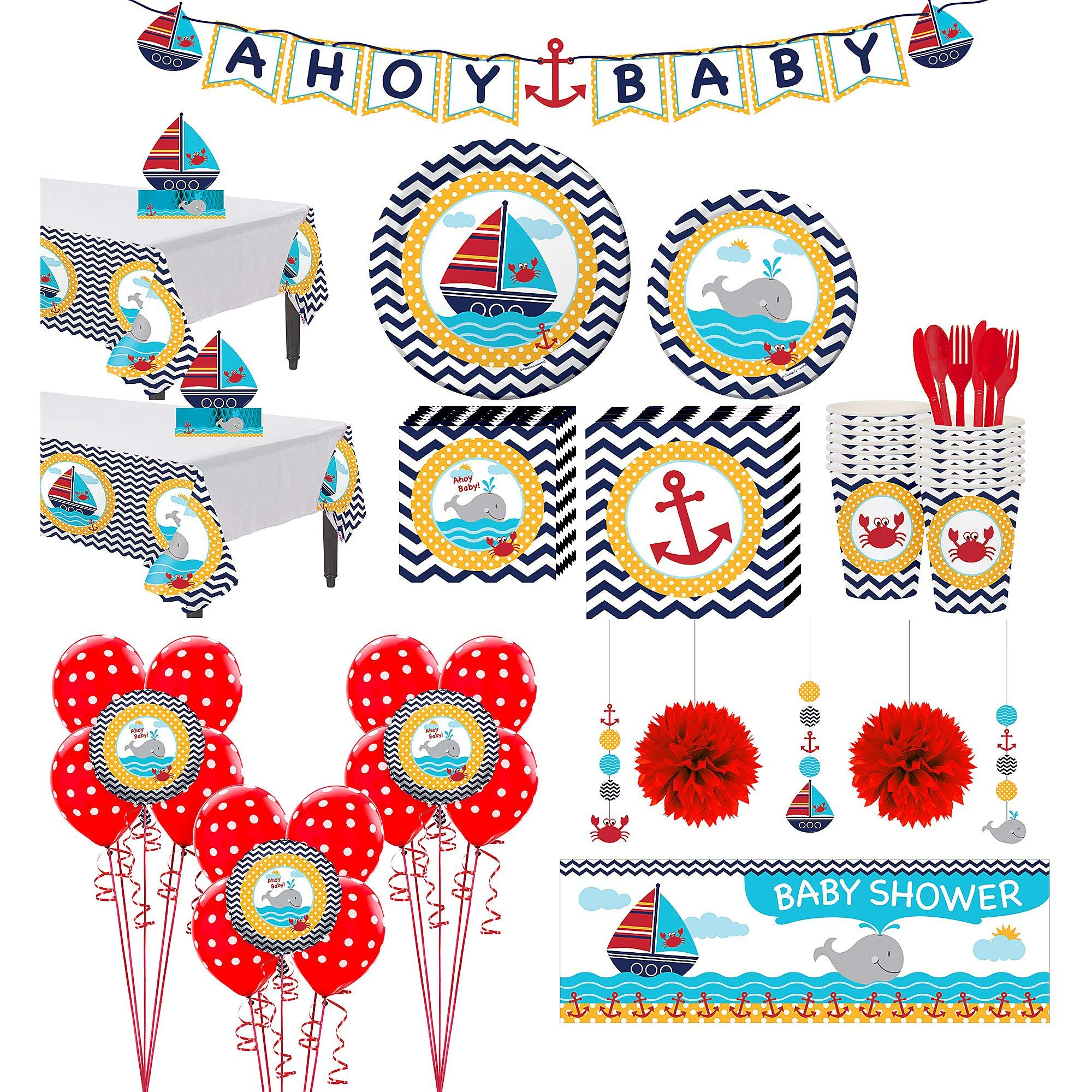 Party City Ahoy Nautical Premium Baby Shower Kit for 32 Guests, Includes Decorations and Tableware