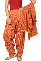 Rama Women's Cotton Orange and Yellow abstract print Patiala dupatta set.