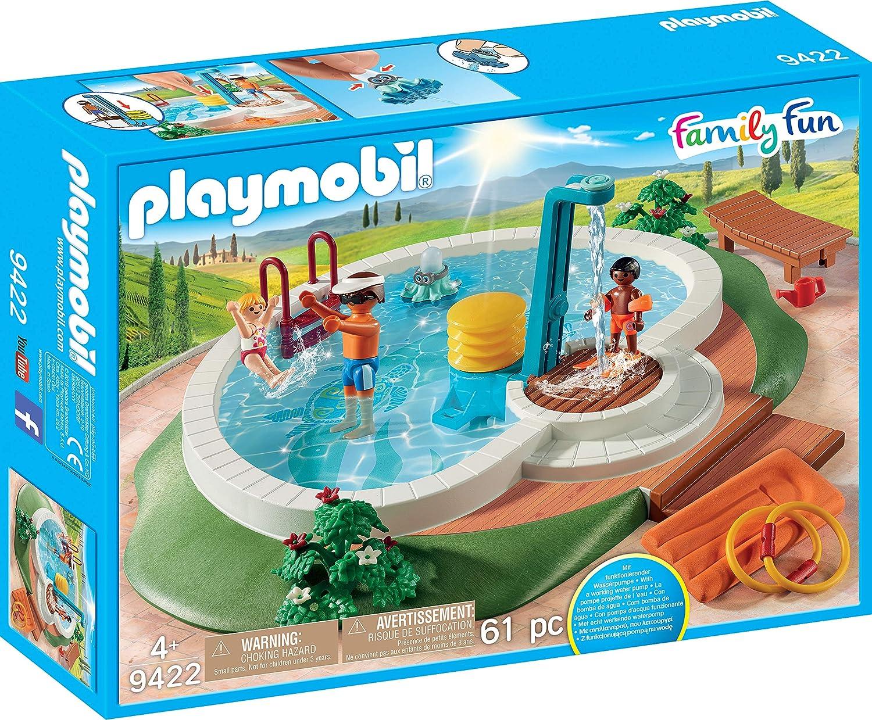 PLAYMOBIL Family Fun Piscina con Bomba de Agua para la Ducha, A partir de 4 años (9422)