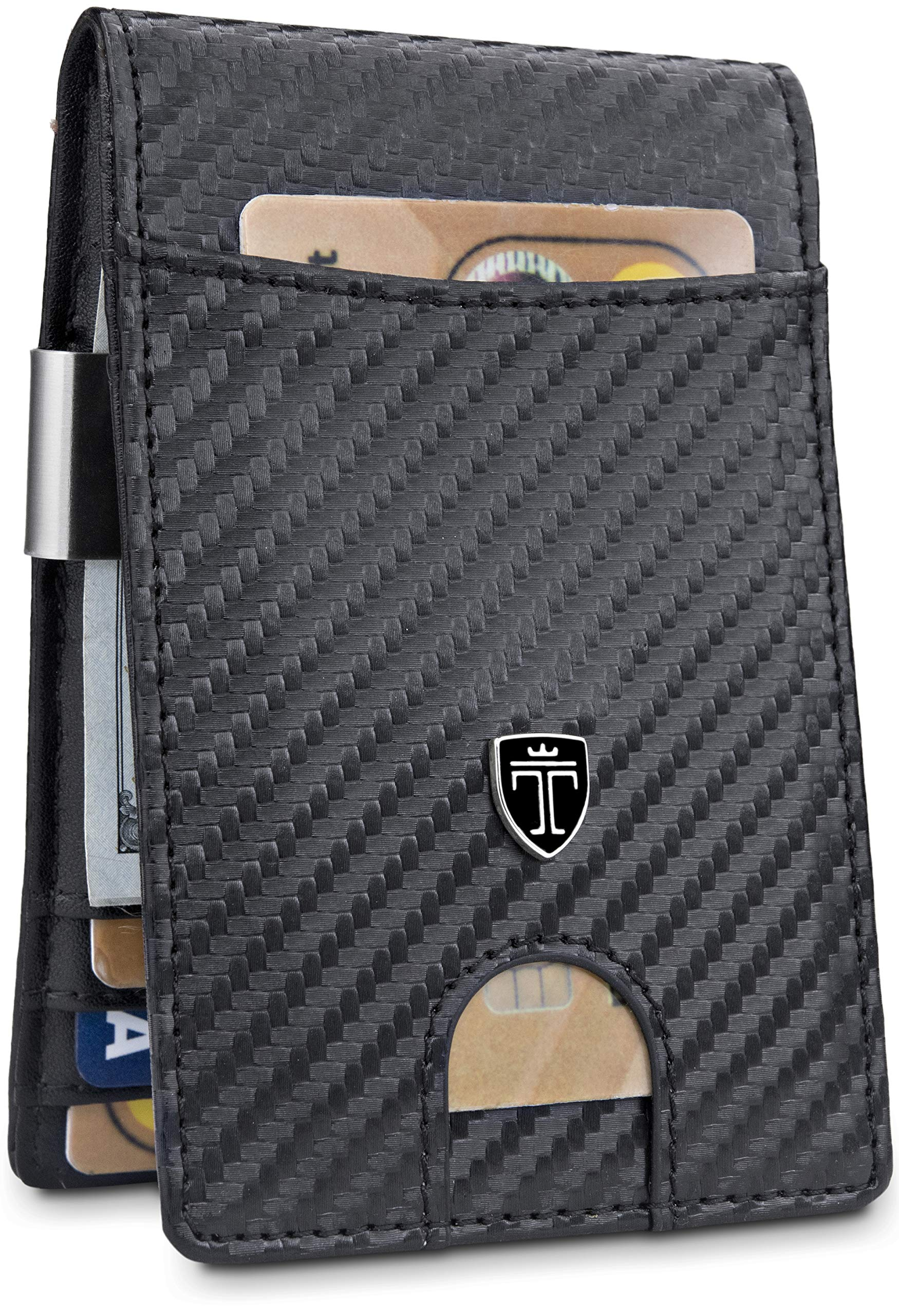 TRAVANDO Money Clip Wallet''RIO'' Mens Wallet Front Pocket Wallet Slim Wallet RFID Blocking | Credit Card Holder | Minimalist Mini Bifold Gifts for Men (Carbon)