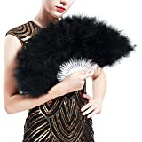 BABEYOND Roaring 20s Vintage Style Folding Handheld Flapper Marabou Feather Hand Fan for Costume Halloween Dancing Party Tea Party