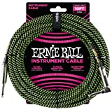 Ernie Ball P06077 Ernie Ball 3 Meters Braided Straight/Angle Inst Cable, Black/Green, Black/green, 3 Meters