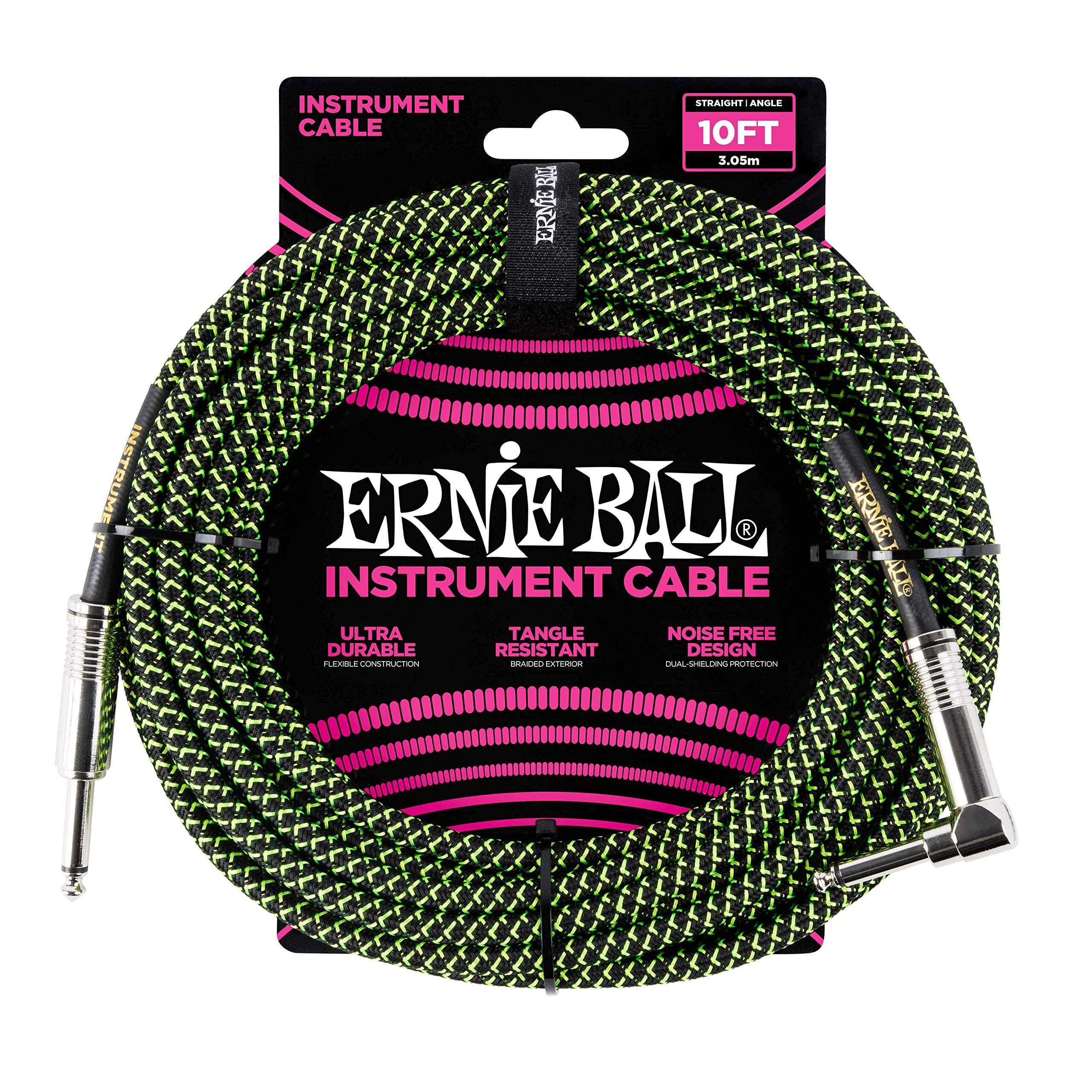 Ernie Ball Instrument Cable Neon Green/Black 10 ft. P06077
