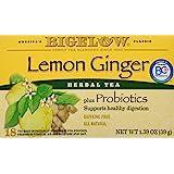Bigelow Lemon Ginger Probiotics Herbal Tea (Pack of 4)