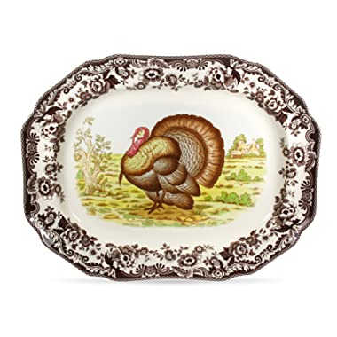 Spode 749151505179 Woodland Turkey Rectangular Platter 17.5  diameter Multi