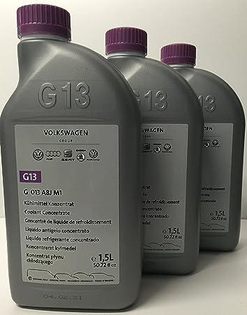 01d587fdc21 3 x Liquid Antifreeze/Coolant G13 Original Volkswagen Bottles 1.5 Litres  (Quantity: 4.5 Litres).: Amazon.co.uk: Car & Motorbike