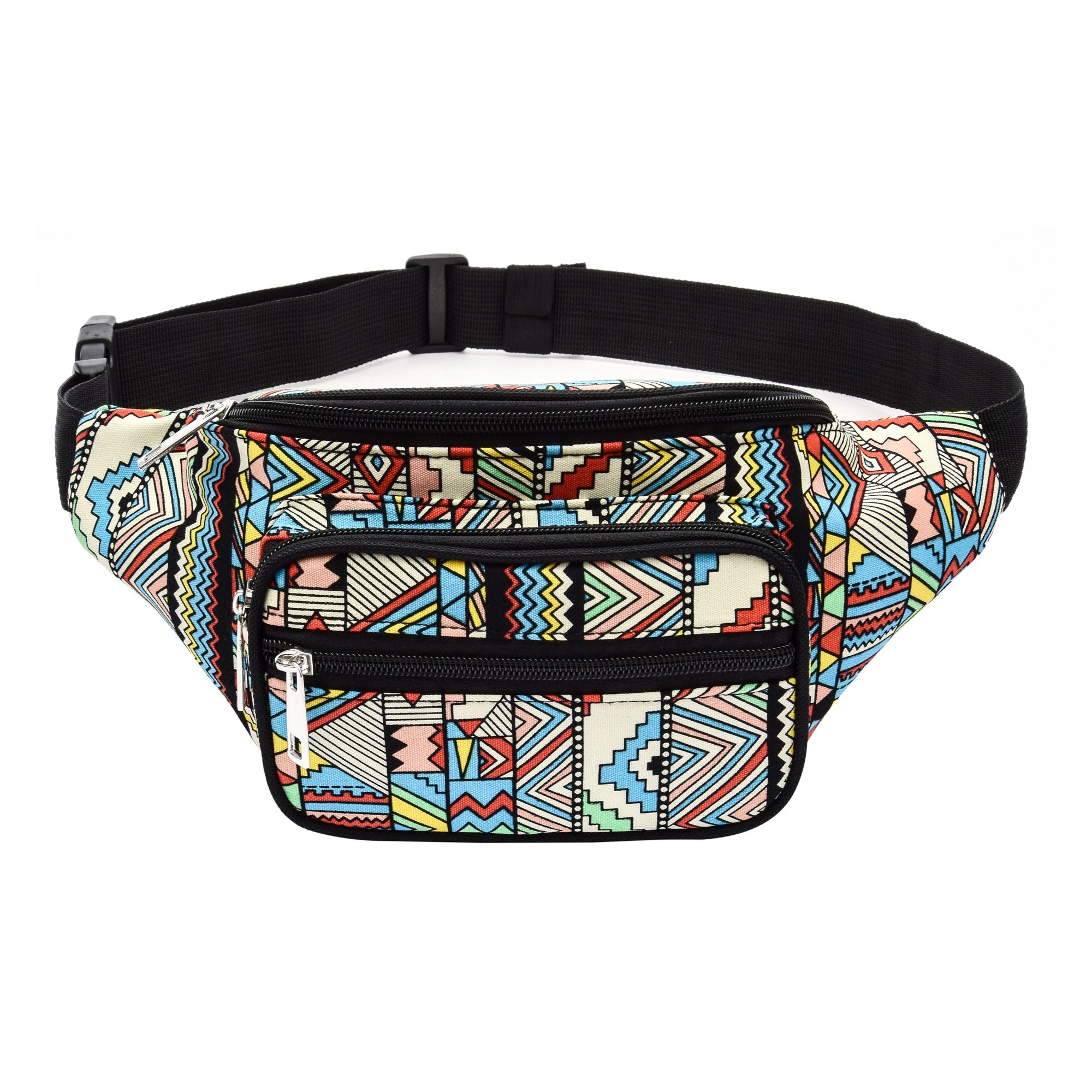 Kayhoma Boho Fanny Pack Geometric Shape Festival Bum Bags Travel Hiking Belt Purse