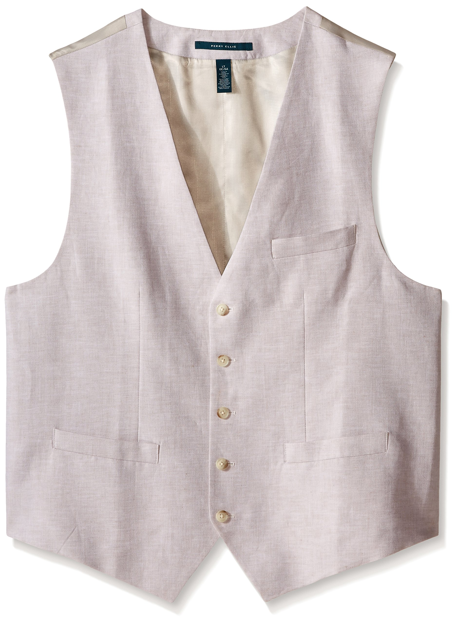 Perry Ellis Men's Big-Tall Suit Vest, Natural Linen, 3X