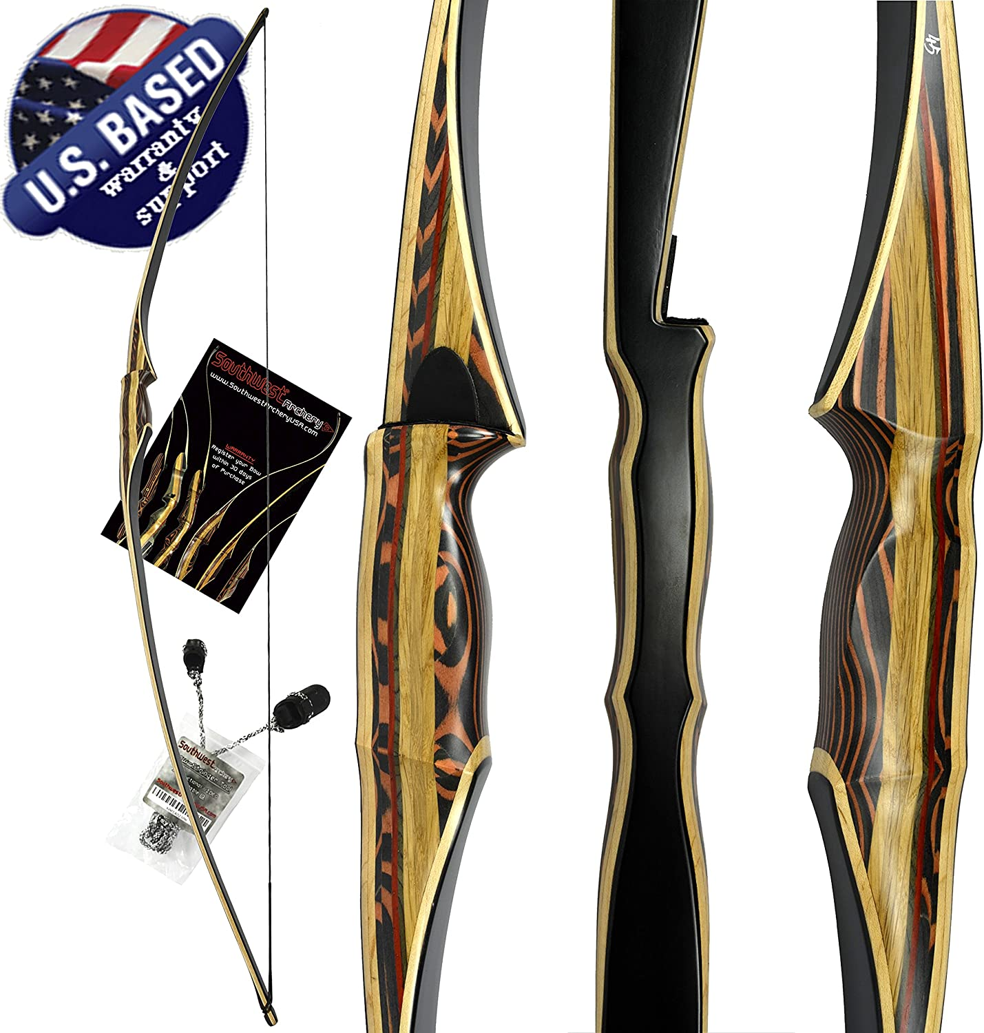 Southwest Archery Scorpion Traditional Hunting Long Bow 68 Longbow Right Left Hand Draw Weights in 25-60 lbs USA Based Company Perfect for Beginner to Intermediate 1 Year Warranty