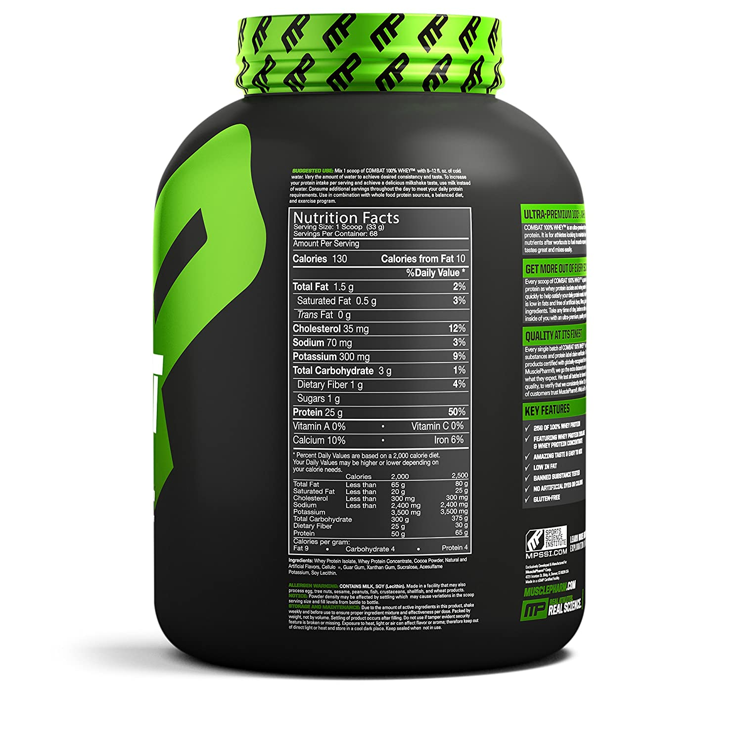 Musclepharm Combat 100 Whey Protein Powder Chocolate Low Jitter Sige Vcsos Milk 5 Pound Health Personal Care