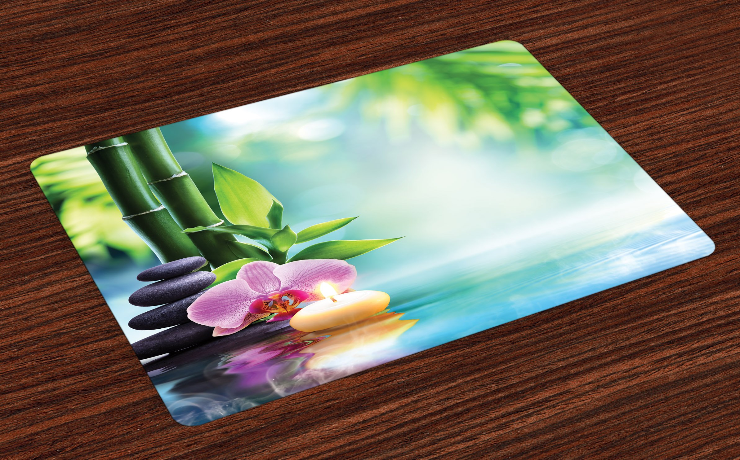 Ambesonne Spa Place Mats Set of 4, Symbolic Spa Features with Candle and Bamboos Tranquil and Thoughtful Life Nature Print, Washable Fabric Placemats for Dining Room Kitchen Table Decor, Multicolor by Ambesonne (Image #1)