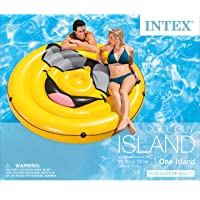 Intex Giant Inflatable Emoji Cool Guy Island Lounger Ride-On Swimming Pool Float (68in X 10.5in)
