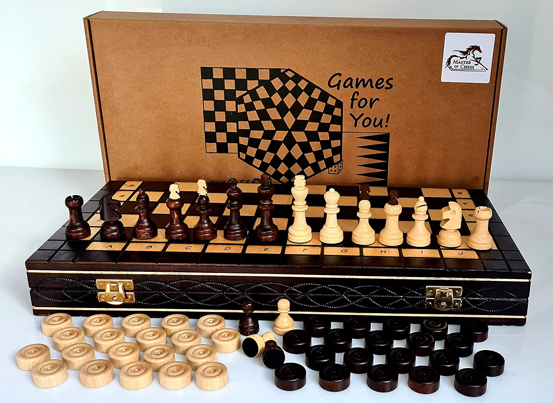 Master of Chess CAPABLANCA DRAFTS - AJEDREZ Y Dibujos 2 EN 1: Ajedrez de Madera de 100 Campos y Damas de Madera de 100 Cuadrados, Juego de borradores 16 Ajedrez Grande de 40x40 cm para niños, Adultos