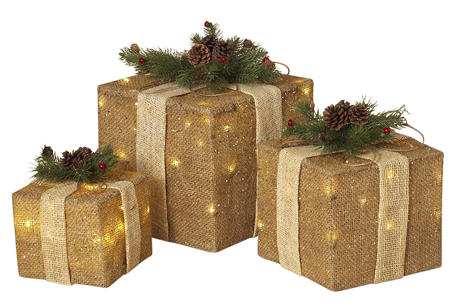 Lighted christmas gift boxes yard decor - Amazon Com Set Of 3 Large Lighted Burlap Holiday Gift Boxes Indoor Christmas Decoration Garden Outdoor