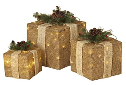 set of 3 large lighted burlap holiday gift boxes indoor christmas decoration - Burlap Outdoor Christmas Decorations