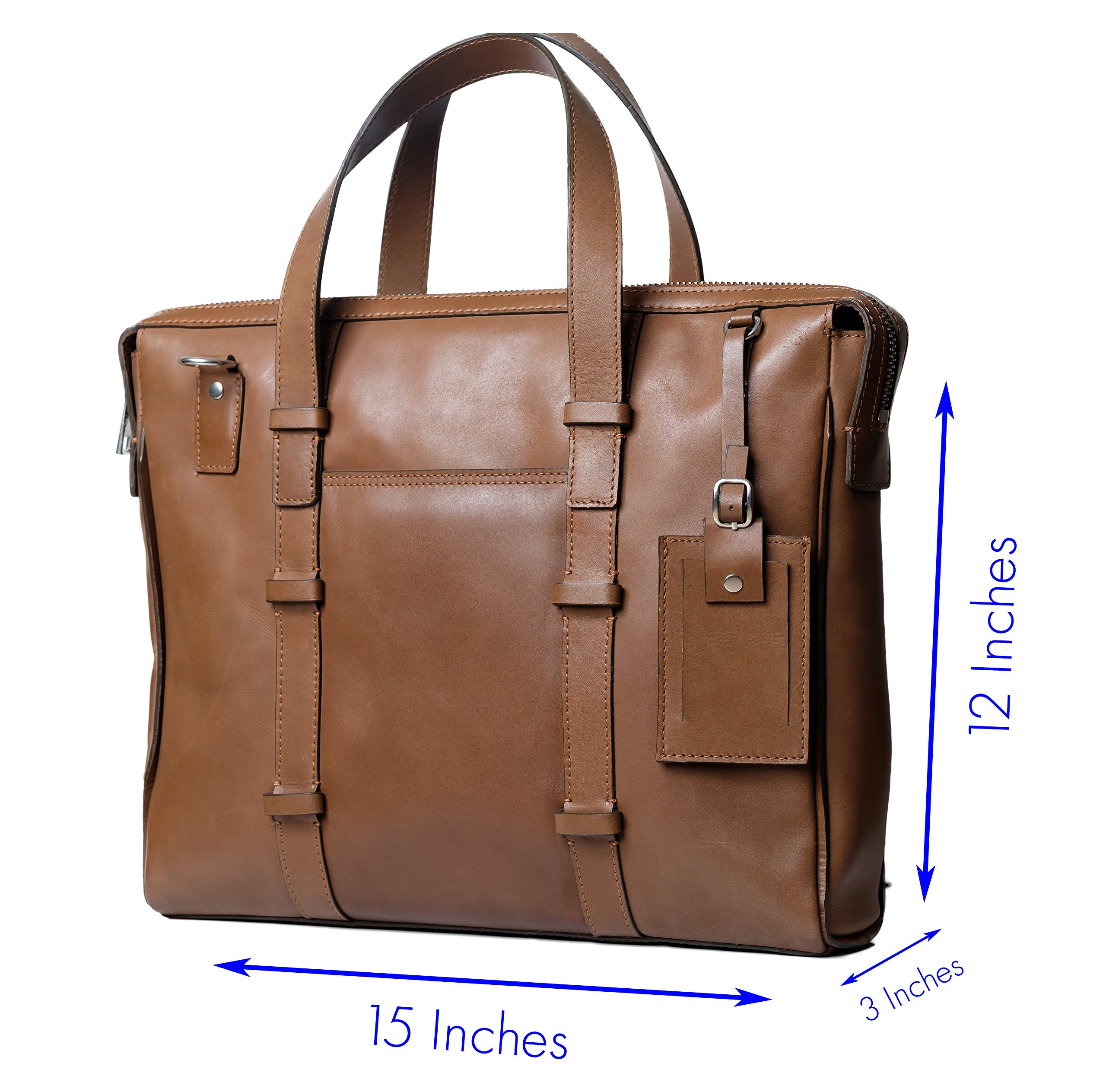 Genuine Leather Laptop Messenger Bag/Handbag for Men & Women, BAILEY, Compact Executive Bag fits 15.4 inch Laptop, 15 inch by 12 inch by 3 inch (Brown) by Ladderback by Ladderback (Image #3)
