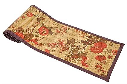 Bamboo Greens - Bamboo Table Runner - Rose Flower Print - 30 x 135 cms