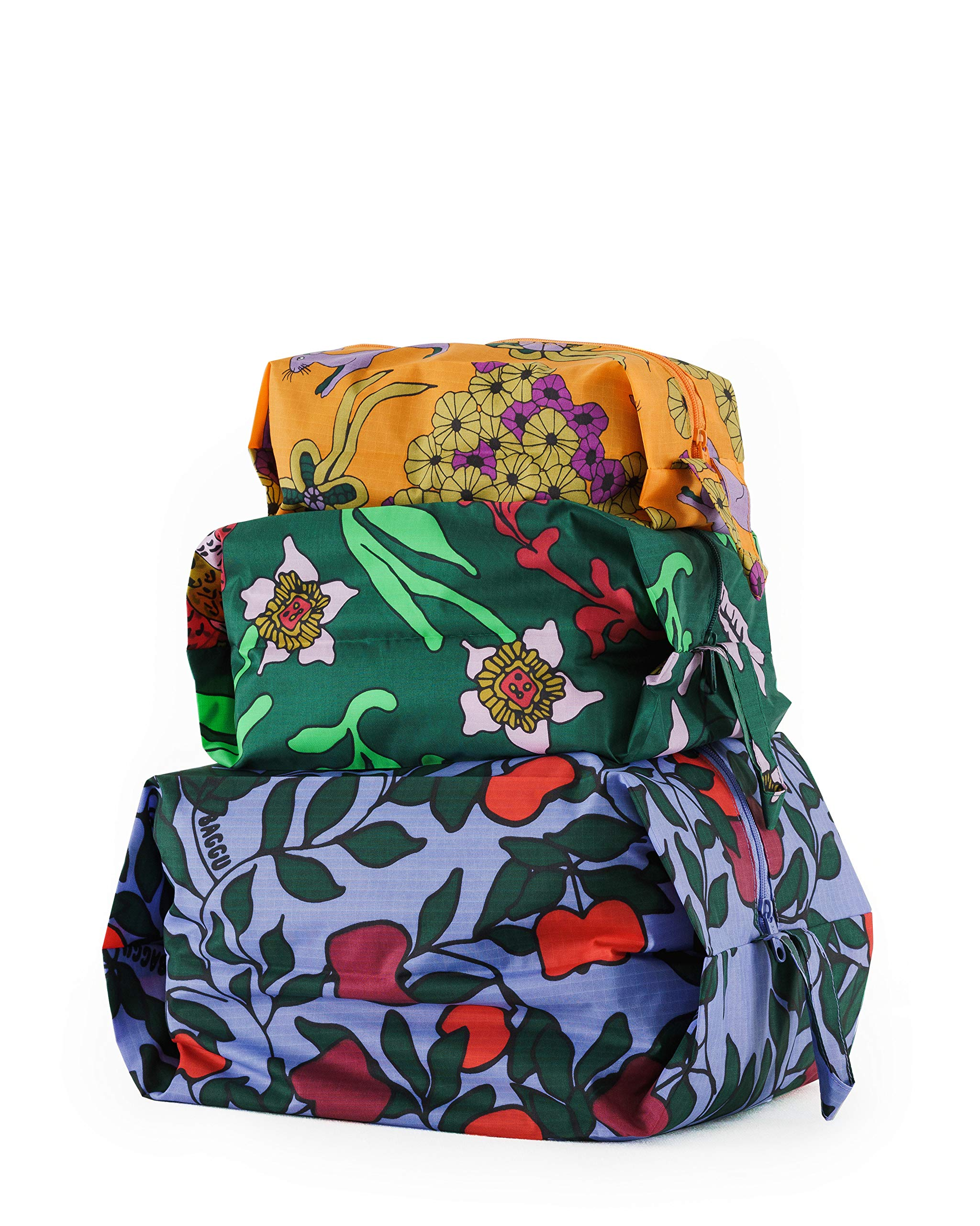 BAGGU 3D Zip Set, Expandable Nylon Zip Pouch 3 Pack For Travel And Organization, Floral Forest Set by BAGGU