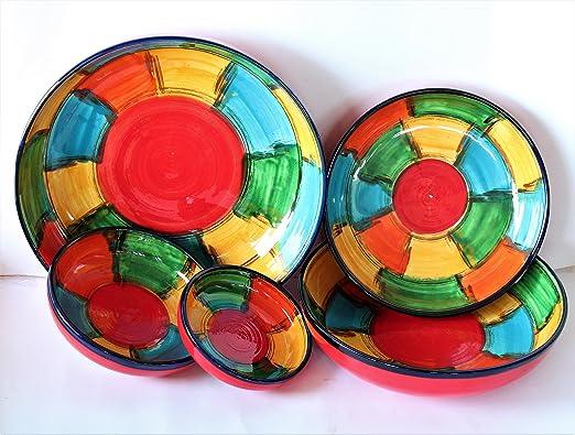 Conjunto de 5 ensaladeras de cerámica.Pintado a mano, hecho en ...